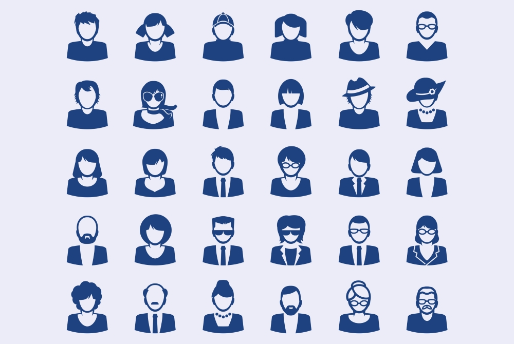 Illustrated image with various silhouettes of office workers