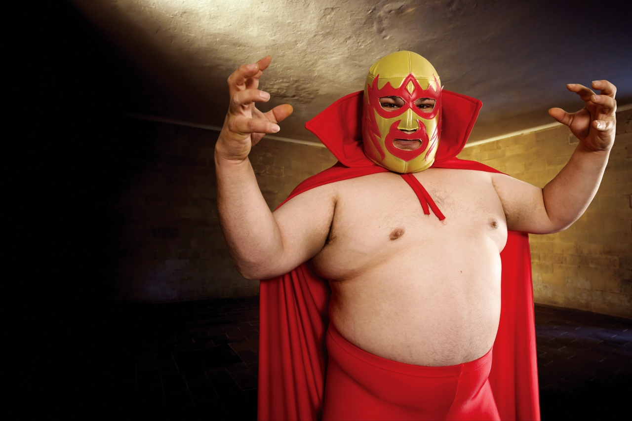 Photograph of a Mexican wrestler or Luchador posing.