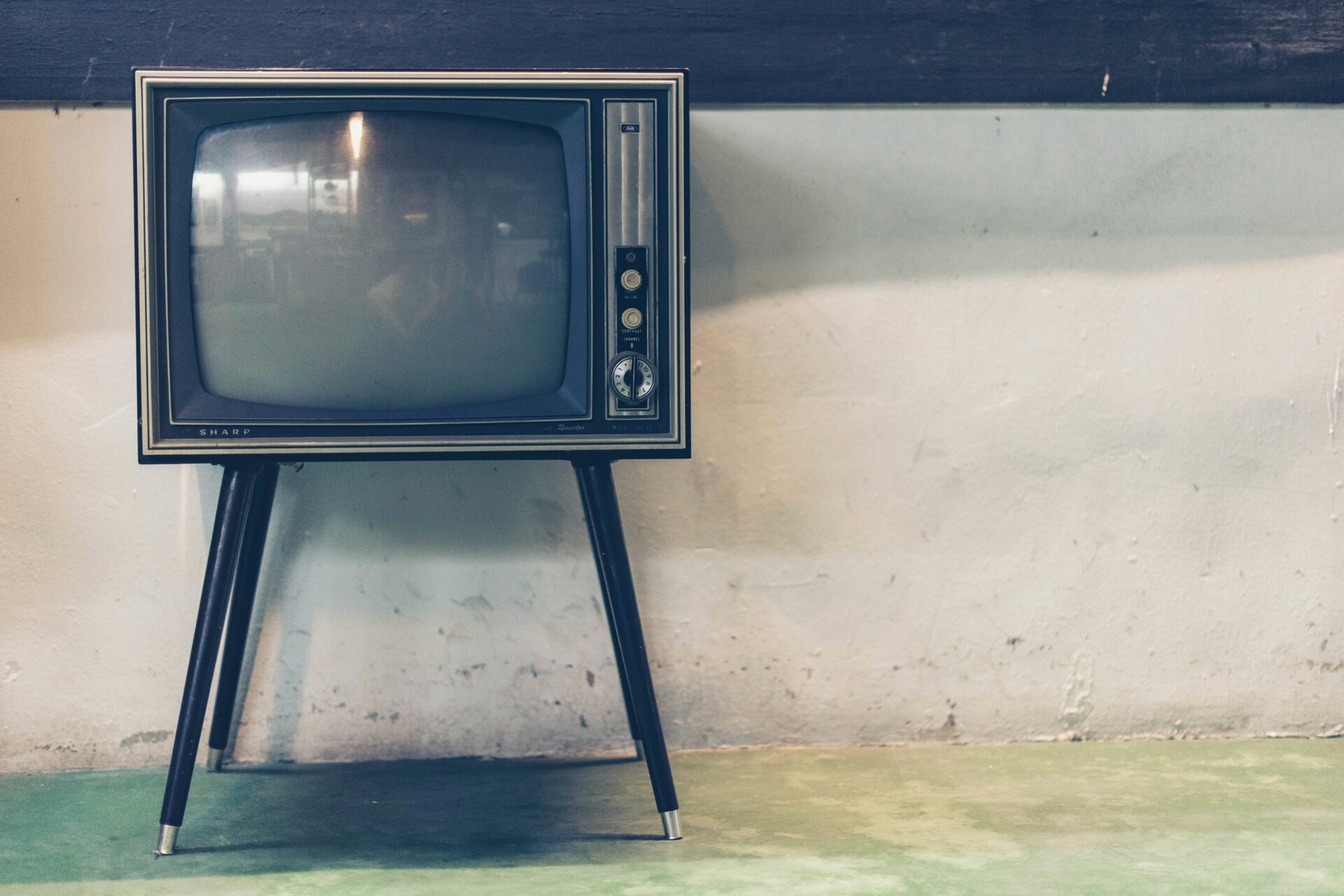 Vintage television on stand