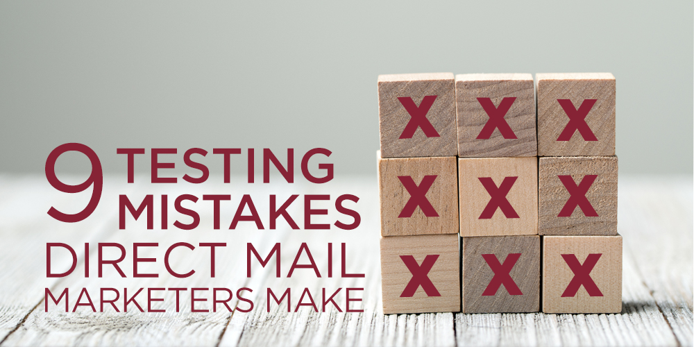 9 Blocks depicting direct mail testing mistakes