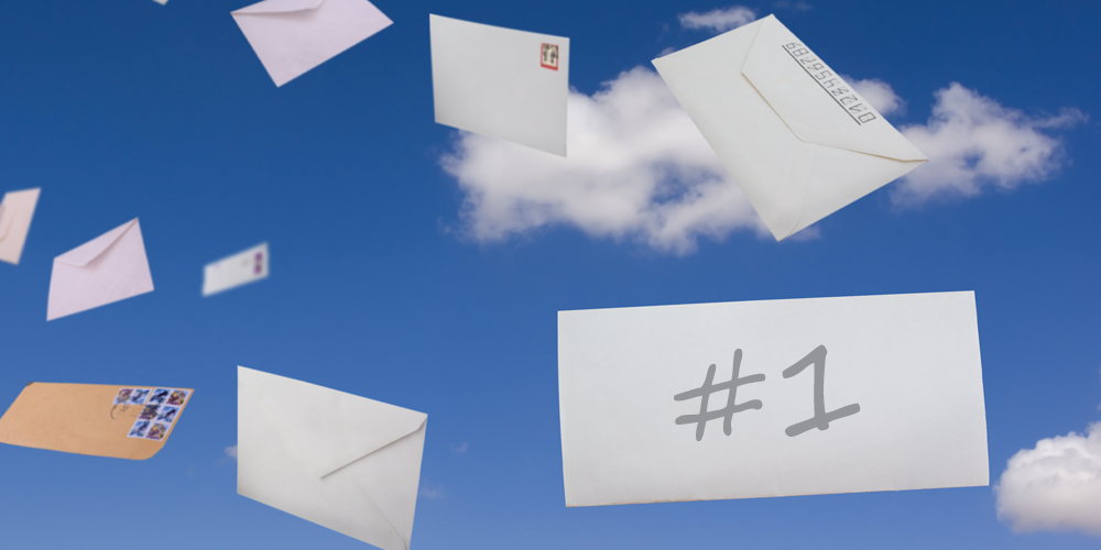 Image showing direct mail floating up in the sky