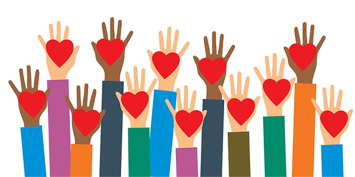 Raised hands holding hearts to represent customer affinity